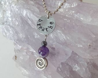 """Small """"Breathe"""" pendant with Amethyst"""