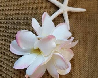 Plumeria hair clip, tropical hair clip, Hawaiian hair clip, plumeria multi blossom spray hair clip