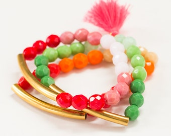 Stretch bracelet  Stackable bracelets   Bracelet set  Beaded bracelet  Tassel bracelet  Bracelet stack  Boho bracelet  Colorful Bracelets