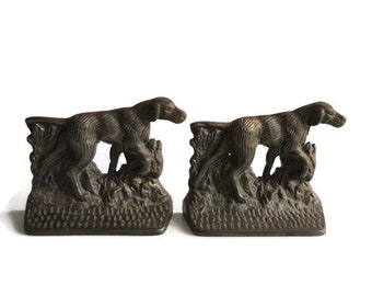 Vintage Cast Iron Hunting Dogs (Pointers) Bookends – Likely Hubley Bookends - Great Library Decor