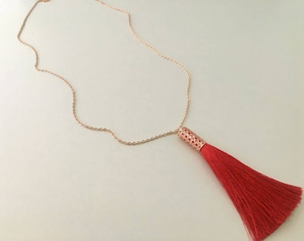 Monroe Rose Gold Necklace, Red Tassel Necklace, Silk Tassel Necklace, Long Rose Gold Necklace, Long Red Necklace, Gift For Her,Birthday GIft