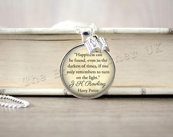 J K Rowling, 'Happiness Can Be Found' Albus Dumbledore Quote Necklace, Key ring, Keychain, J K Rowling Quote Jewelry