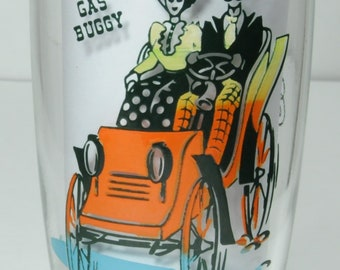Gas Buggy, Gay Nineties, Anchor Hocking, Gay Nineties glassware, Party Gay glasses, water glass, water tumbler, juice glass, hostess gift