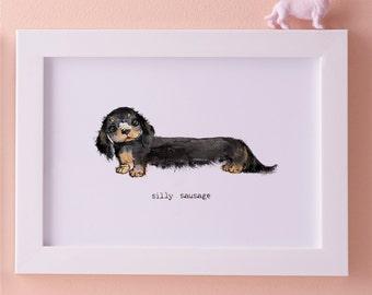 Silly sausage dog A4 art print