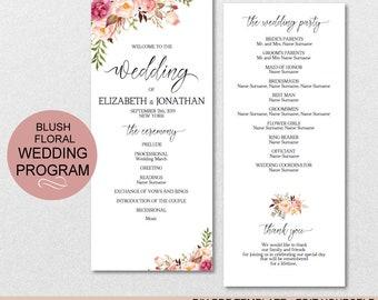 Blush Floral Wedding Program Printable Template - DIY Editable PDF-DOWNLOAD Instantly   VRD156PL