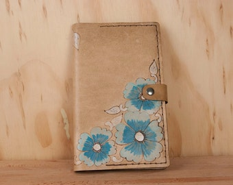 Leather Journal - Moleskine Journal - Journal with flowers - Belle pattern with wild roses - turquoise and antique brown - refillable