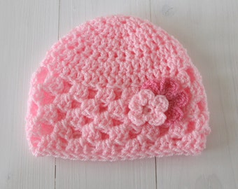 Hat, Baby hat, Baby girl hat, Pink baby beanie, Crochet hat, Baby shower gift, Baby hat with flower, Beanie hat, Photo prop, Ready to ship,
