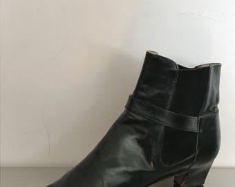 Women's Vintage Ankle Boots / Salvatore Ferragamo Black Leather Ankle Boots / Vintage Ferragamo Boots