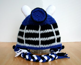 Toddler Dalek Hat, Robot Hat, Doctor Who inspired crochet Dalek Hat, Halloween costume, Robot hat with earflaps in sizes 12 months to 4T