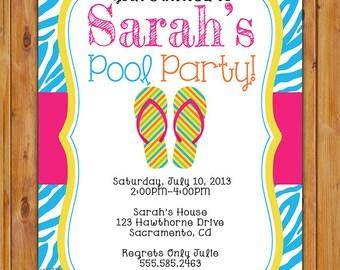 Pool Party Invitation Zebra Print Birthday Invite Flip Flops Blue Pink Printable 5x7 Digital JPG File (19)