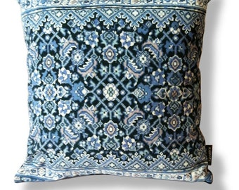 Blue velvet cushion cover sofa pillow BLUE AGATE