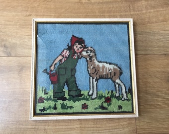 Vintage Hand Embroidered Woolwork Tapestry Picture - girl with watering can & dog (or sheep!)
