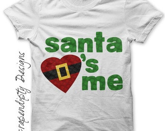 Santa Iron on Transfer - Iron on Christmas Shirt PDF / Boys Christmas Outfit / Santa Loves Me Kids Shirt / DIY Christmas Baby Clothes IT65