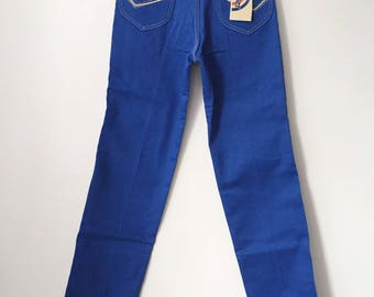 vintage wrangler accord straight leg blue jeans student size 27 x 32 deadstock NWT 70s made in USA