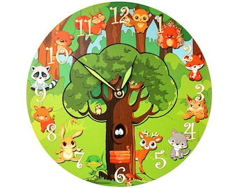 "Forest Animals Wall Clock - 'Welcome to our Forest' (11"")"