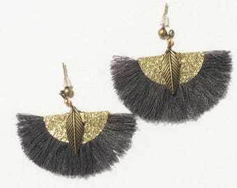 Earrings fan with grey cotton tassel and gold glitter fabric