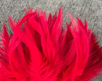 Red saddle feathers- for Polynesian/Tahitian dance costumes or crafts, rooster feathers, costume