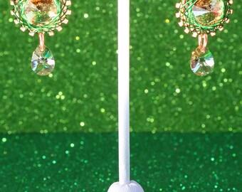 Spirograph Inspired Design, Wire Wrapped Swarovski Crystal Rivoli Earrings, Peridot Lemon