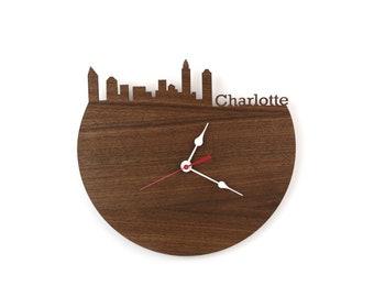 Walnut Charlotte Skyline Clock - Cherry and Walnut Modern Wall Clock