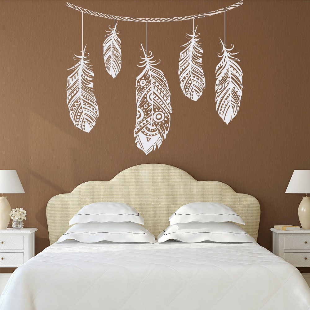 Feather Wall Decal Feather Decor Bohemian Bedroom Decor