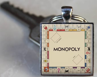 Monopoly Game Board Keychain  Family Game Night Key Ring Silver Monopoly Charm