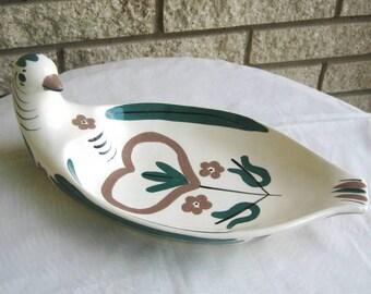Distlefink White California Cleminson Cleminson's pottery bread dish bowl bird 1940s California pottery Pennsylvania Dutch green brown