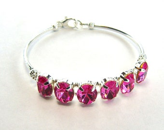 Pink rhinestone bracelet / pink crystal bracelet / Swarovski crystal / girlfriend gift / bridesmaid jewelry / unique bracelet / gift for her