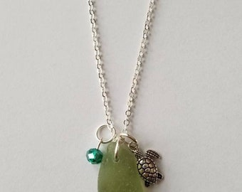 Genuine Maine Pale Olive Green Glass Pendant Sea Turtle and Blue Crystal Charm White Base Metal Plated  Nautical Ocean Beach Ready to Ship