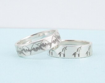 Personalized Ring  -  Custom Design Ring - Drawing Ring - Unicorn Jewelry - Mountain Ring