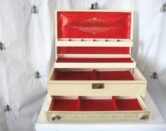 Vintage Mele Jewelry Box, Ivory, Red Velvet, Embossed, Four Tiered