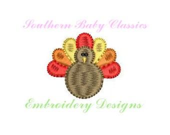 Turkey Thanksgiving Mini Satin Fill Design File Embroidery Machine Monogram Add On Instant Download