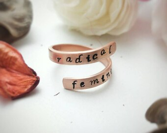 Spiral ring / Resist / Radical Feminist / Protest jewelry