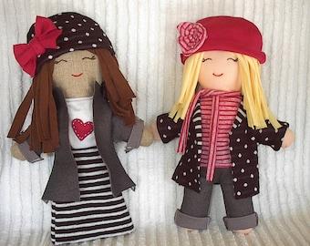 Cloth Rag Doll PDF sewing pattern, cute and easy cloth doll sewing pattern, recycled t-shirts, plush doll sewing pattern