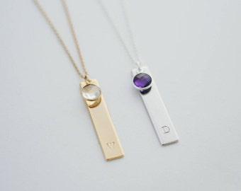 Tag Necklace w/ Birthstone
