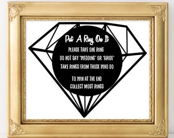 Bridal shower game Put a ring on it Ring bridal shower games party diamond Wedding Shower Game Don t Say Bride Game Engagement Party