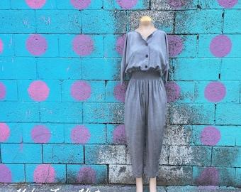 Vintage Pewter Kimono Sleeve Smocked Waist Jumpsuit (Size Medium)
