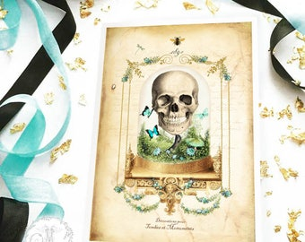 Halloween card, skull in a vintage cloche, day of the dead, gothic style specimen jar, blank all occasion card