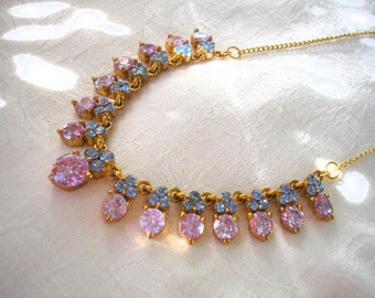 Amethyst Rhinestone Necklace, Prom, Party, Purple and Blue Necklace, Mother of the Bride, Lavender Bridal, Periwinkle, Blue Wedding, Gatsby