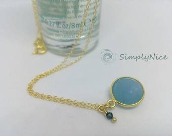 Chalcedony Necklace Gold