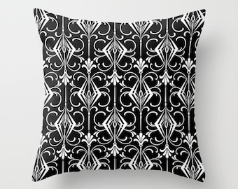 Art Deco Pillow Cover, Velvet Cushion 18x18 22x22, Black and White Throw Pillow, Bedroom Decor, Housewarming Gifts, Guest Room Decor
