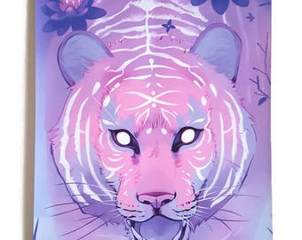 Pink Tiger Wall Scroll Art Print