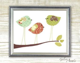 Nursery art prints - baby nursery decor - children wall art - kids room decor - nursery wall art - Birds - Three Little Birds print