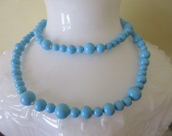 Vintage Robins Egg Blue Opaque Glass Bead Single Strand Necklace