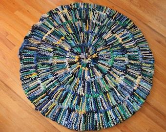 T Shirt Rag Rug Baby Blue Circular Navy Royal Sky grau gelb grün Upcycled modernes Cottage Land 46 In Durchmesser inklusive US - Versand