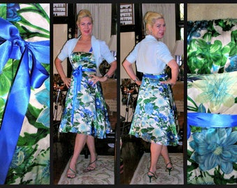 Original Vintage 1990's blooming roses blue satin asymmetrical tea dress by Very Very with tie/bow royal blue ribbon sash size: 10