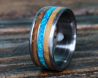 Mens Wooden Wedding Band, Mens Titanium Ring, Whiskey Barrel Wood Inlay Wedding Band for Men, Custom Engraved, 5th Anniversary, Gift for Him