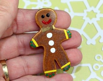 Gingerbread Man Pin Handmade Porcelain Christmas Jewelry