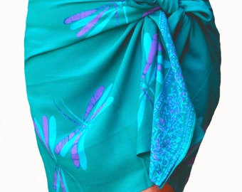 Dragonfly Sarong Wrap Skirt Batik Pareo Women's Clothing Short Beach Sarong Aqua Green & Purple Beach Cover Up Sarong Surfer Bikini Skirt