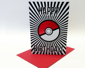 Happy Birthday - Pokemon inspired birthday card, size A6