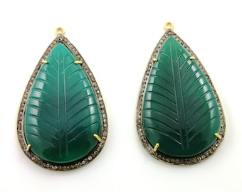 """Natural Green Onyx, Bezel Pear Shape Component with Carving,Gold Vermeil,   50X31mm 1 Piece, 2 """" LONG (GNX/WTZ/50X31)"""